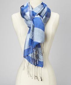 This Royal & White Plaid Silk Scarf by Blue Pacific Fashion is perfect! #zulilyfinds