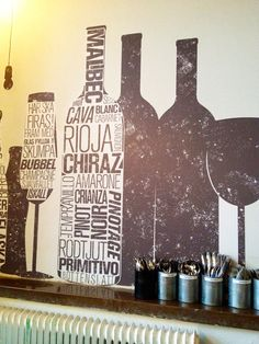 Urban Deli | Stockholm, wall decals, wine bottle, wine glass