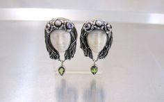 Sterling Carved Bone Princess Earrings, Gemstone Pearl Serling Silver Carved…