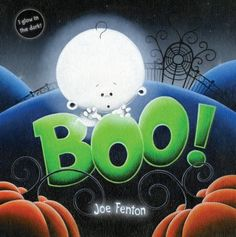 """""""Boo!"""" by Joe Fenton.  Bold and brilliant illustrations crafted with Joe Fenton's distinctive style tell the tale of a little ghost who wants to be spooky enough to win his school's Halloween costume contest. But how can he be terrifying if he can't make a scary face? Even the youngest of readers can relate to this earnest spirit's struggles, as well as read along-""""Boo!"""" is the only word used throughout the imaginative and colorful story."""