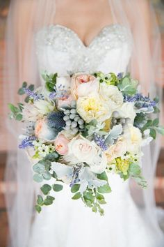 Pastel wedding bouquet idea - pastel pink + yellow peonies with dusty miller and greenery {Rose Avenue Floral}