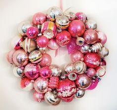 easy DIY wreath - all you need is styrofoam, ornaments and a glue gun!