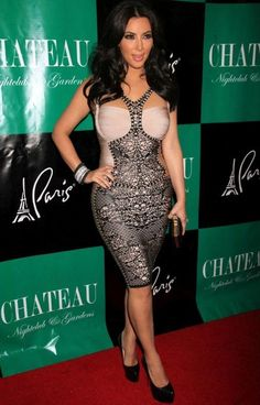79a051f8220 Kim Kardashian Pattern Bandage Bodycon Cocktail Dress 2 Color Size XS S M L