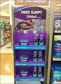 ZzzQuil Color Branded Corrugated Display