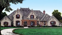 Gorgeous European Manor Home - 48435FM | 1st Floor Master Suite, Bonus Room, CAD Available, Corner Lot, European, French Country, Jack & Jill Bath, MBR Sitting Area, Media-Game-Home Theater, PDF | Architectural Designs