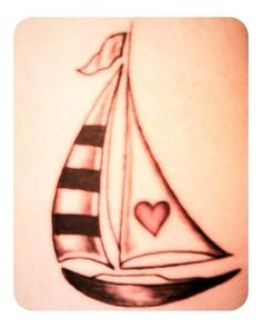 A cute little sail boat tattoo idea.