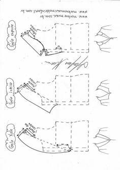 Variación tipos de cuellos - Patrones gratis Techniques Couture, Sewing Techniques, Skirt Patterns Sewing, Clothing Patterns, Sewing Collars, Costura Fashion, Collar Pattern, Sewing Studio, Pattern Drafting