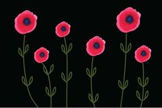 """Grafica di lidiamallia: """"Poppies Black"""" #pattern #thecolorsoup #abstract #texture #colors #design #style #flowers"""