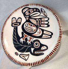 "Lambert Potteries Hand Painted 11"" Plate Thunderbird Whale"