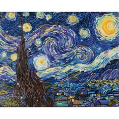 Rhinestone Painting Kit Starry Night Van Gogh Diamond DOTZ for sale online Classic Paintings, 5d Diamond Painting, Diamond Art, Arts And Crafts Supplies, Dot Painting, Cross Stitch Kits, Embroidery Kits, Les Oeuvres, Printing On Fabric