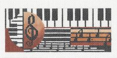 *NEW* Piano & Music handpainted Needlepoint Canvas Insert or Ornament by Mindy #MindysNeedlepoint