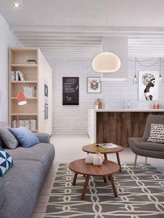Perfect styling for a young couple... White walls and neutral floors are a perfect backdrop for the coral, blue and grey colour palette. Contemporary scandinavian styling mixed with mid century modern furniture and quirky artwork make this space warm and inviting. #Scandinavian #contemporary #midcenturymodern #interiordesign