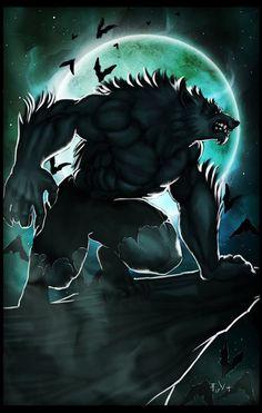 Wolf and moon Lycan Anubis Armando Werewolf Vs Vampire, Werewolf Art, Werewolf Games, Furry Wolf, Furry Art, Fantasy Creatures, Mythical Creatures, Beast, Vampires And Werewolves
