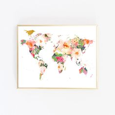 Printable gold grey and pink painted world map print its minimal world map wall art best selling items floral printable art digital download gumiabroncs Choice Image