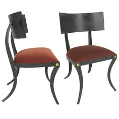 Set of Six Steel Klismos Chairs by Ched Berenguer-Topacio | From a unique collection of antique and modern dining room chairs at https://www.1stdibs.com/furniture/seating/dining-room-chairs/