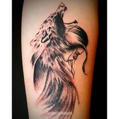 Image result for wolf protecting girl tattoo