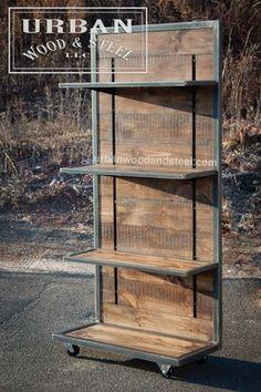 Pantalla de pared industrial pino reciclada con estantes