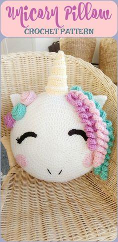 This unicorn pillow looks so sweet. It's a PDF download crochet pattern #crochet #crochetpatterns #pillows #ad #unicorns #unicornpillow #kidsroom #kidsroomdecor #homedecor