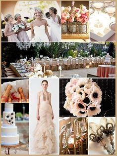 Shabby chic-ish...I like the bridesmaids look, the flowers, bead type things on chairs, and flowers in the wireish vase!
