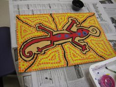 The fourth grade was introduced to Aboriginal art from Australia. They looked at many different paintings and observed the characteristics of all the paintings. They then chose an animal native...