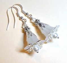 Jewelry, Earrings Snow White, Lucite Flower, SwarovskiClear Austrian Crystals, Glass Pearl, Silver FREE SHIPPING. $6.00, via Etsy.