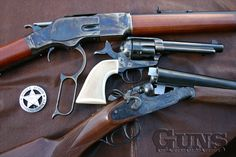 Three For The Show by Taylor's Firearms: Marshal SAA, Trapped Model 73 Winchester & Hammer Coach Gun - Guns of the Old West