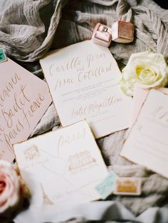 Photography: Katie Stoops Photography - katiestoops.com Invitations: Seniman Calligraphy (#2 Grey/gold With Tile Escort Cards) - www.senimancalligraphy.com   Read More on SMP: http://www.stylemepretty.com/2016/02/05/luxurious-parisian-wedding-inspiration/