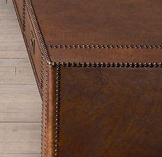 Restoration Hardware(レストレーションハードウェア)レザーコーヒーテーブル「Marseilles Coffee Table」/Molasses Buffalo Leather