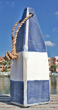 """12"""" Nautical Wood Buoy- Blue/White/Blue"""
