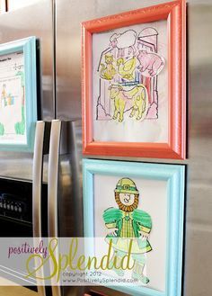 DIY Magnetic Refrigerator Art Frames--great idea for displaying kids' art...and to keep it at one picture a kid to reduce clutter.