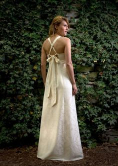 Grace - Long Open Back Empire Waist Hippie Wedding Dress - Eco Friendly Ivory Hemp and Floral Silk