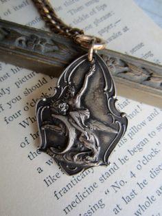 Vintage Belgian medal and rosary necklace by susanruppel1 on Etsy, $215.00  #susan ruppel designs #vintage recycled repurposed medal necklace #   Vintage art nouveau medal necklace #1932 medal