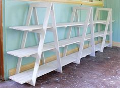 DIY Trestle Shelving Unit - I need to do this for WoolyHands - I need need a new Farmer's Market display. Farmers Market Display, Market Displays, Market Stall Display, Market Stalls, Craft Booth Displays, Display Ideas, Booth Ideas, Craft Booths, Regal Display