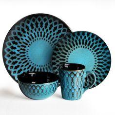 American Atelier Sicily 16 Piece Dinnerware Set in Blue- Black