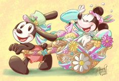 Epic Mickey, Disney Mickey, Oswald The Lucky Rabbit, Mickey And Friends, Disney Fan Art, Minnie Mouse, Disney Characters, Fictional Characters, Easter