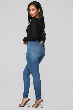 5f80a9cb433 Classic High Waist Skinny Jeans - Medium Blue Wash