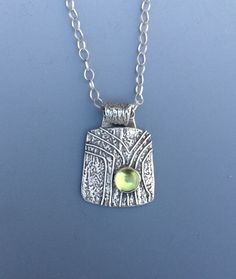 """Gemstone Necklace - Fine Silver - Peridot- Handmade Pendant - """"Tree Hollow"""" - Gift for Her - Birthstone - Gemstone by bgConstructions on Etsy Mixed Metal Jewelry, Metal Clay Jewelry, Silver Jewelry, Silver Necklaces, Silver Ring, Silver Earrings, Soldering Jewelry, Precious Metal Clay, Gemstone Necklace"""