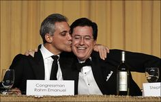 Rahm Emanuel + Stephen Colbert