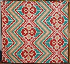 OUTSTANDING-20s-Postage-Stamp-Mosaic-Antique-Quilt