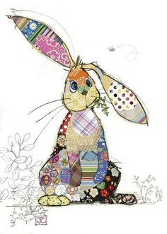Binky Bunny bug art greeting card-Designed by Jane Crowther Applique Patterns, Applique Quilts, Applique Designs, Quilt Patterns, Applique Ideas, Patchwork Designs, Collage Kunst, Collage Art, Binky Bunny