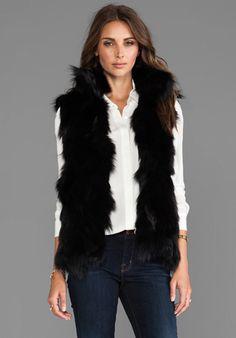 Adrienne Landau Fox Vest in Black