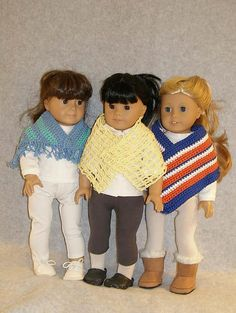 "Ravelry: American Girl 18"" doll Crocheted Shawls pattern by Ase Bence"