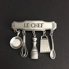 Pewter Vtg LE CHEF JJ Brooch with Dangling Kitchen Gadgets Grater Whisk Spoon  | eBay