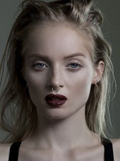 Taurus- Close-up headshot/ Septum piercing/ natural eyes/ dark lips Makeup Inspo, Beauty Makeup, Hair Makeup, Hair Beauty, Makeup Inspiration, Beauty Tips, Fashion Inspiration, Septum Piercings, Lip Piercing