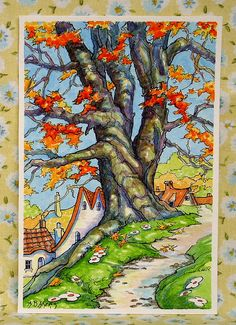 One of my recent Storybook Cottage Series paintings. These are diminutive watercolor paintings inspired by Deco era storybook art. Vintage Illustration Art, Watercolor Illustration, Illustrations, Storybook Cottage, Cottage Art, Autumn Art, Autumn Trees, Abstract Watercolor, Watercolor Paintings