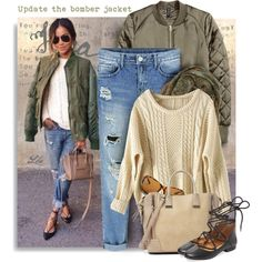 How To Wear Update the bomber jacket with distressed jeans Outfit Idea 2017 - Fashion Trends Ready To Wear For Plus Size, Curvy Women Over 20, 30, 40, 50