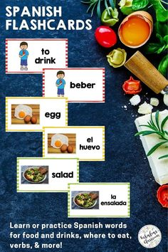 These digital AND printable Spanish vocabulary flashcards will make studying much easier for Spanish 1 students! Practice food vocabulary in Spanish, learn words for dining out en Español, and prepare for assessments. Words correspond with Así Se Dice 1 Chapter 4, ¿Qué comemos y dónde? Grab this no-prep Spanish resource now to make learning la comida vocabulary engaging & fun! Learning Spanish For Kids, Spanish Teaching Resources, Spanish Activities, Teaching Materials, Fun Learning, Homeschooling Resources, Teacher Resources, Spanish Lesson Plans, Spanish Lessons