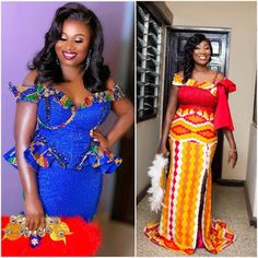 Latest Kente Styles For Engagements 2019 African Party Dresses, African Lace Styles, African Wedding Attire, Latest African Fashion Dresses, African Dresses For Women, African Print Fashion, African Attire, African Prints, Latest Traditional Dresses