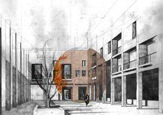 Urban Housing, Glasgow Green - David Fleck, Alex Forner, Chris Dove and Sara Usai.  Partially rendered perspective.