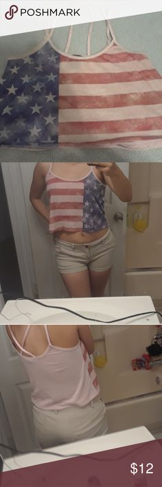 American Flag Crop Top Size medium but could fit a Small No flaws From Rue 21 Strappy back Rue 21 Tops Crop Tops